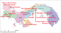 Map of Panama showing Best Places In The World To Retire locations